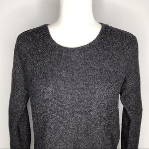 Madewell gray crew neck sweater leather trim
